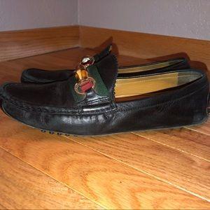 Gucci Shoes - Gucci Black Bamboo Horsebit Driving Mocs Loafers